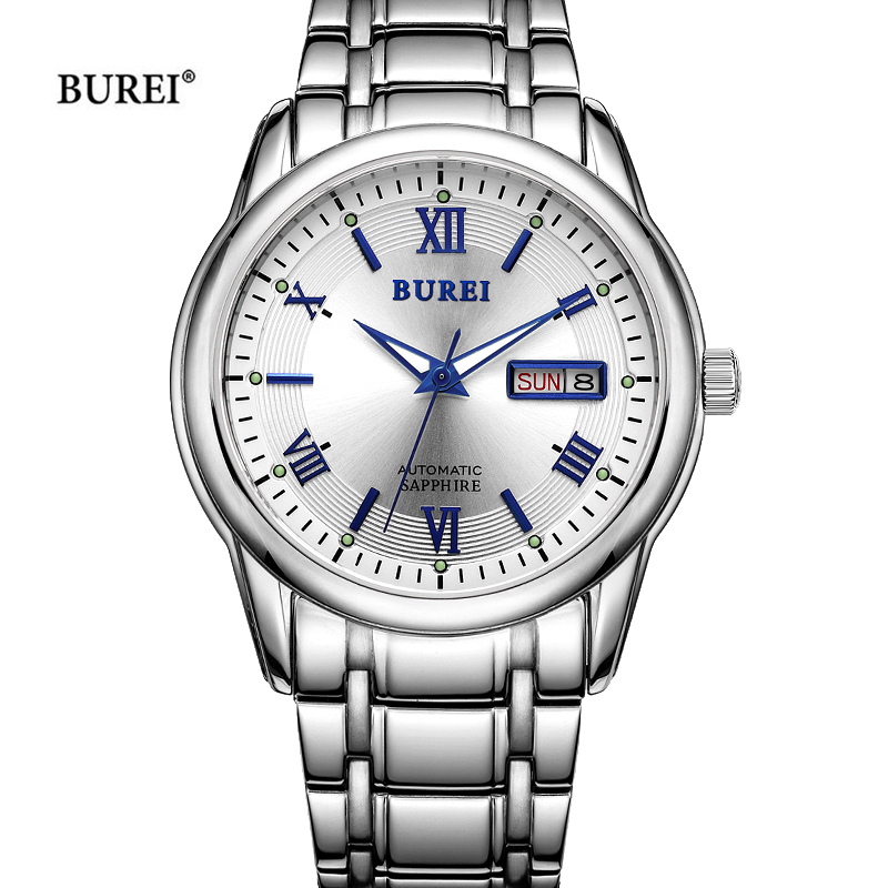 BUREI Mechanical Watches Men Luxury Sapphire Crystal Business Automatic Gold Silver Wrist Watch Clock Man Saat Relogio Masculino original binger mans automatic mechanical wrist watch date display watch self wind steel with gold wheel watches new luxury