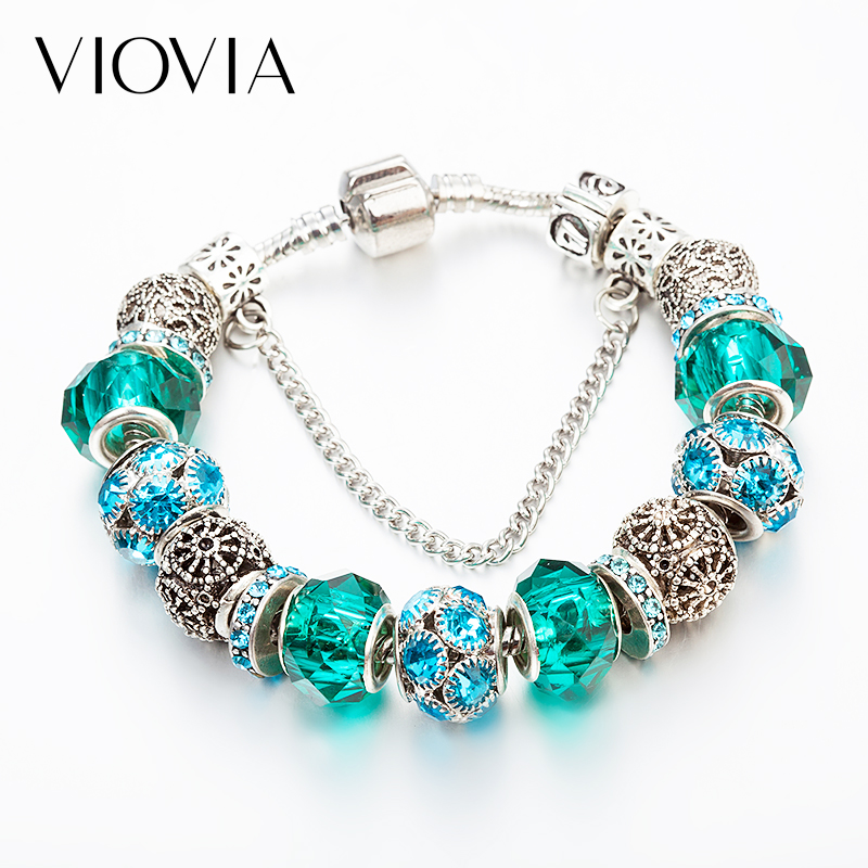 VIOVIA Brand Women Bracelet Crystal Charm Bracelet For Women DIY  Beads Bracelets & Bangles Jewelry Gift MIX555