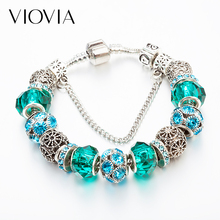 VIOVIA 2019 Hot Selling Crystal Charm Bracelets for Women DIY Beads Fit Pan Original Bracelets amp Bangles Jewelry Gifts MIX555 cheap Zinc Alloy Glass Snake Chain Heart TRENDY Hidden-safety-clasp Fashion Tension Setting 45g piece Antique silver plated Gift Women dress Dinner Party gift