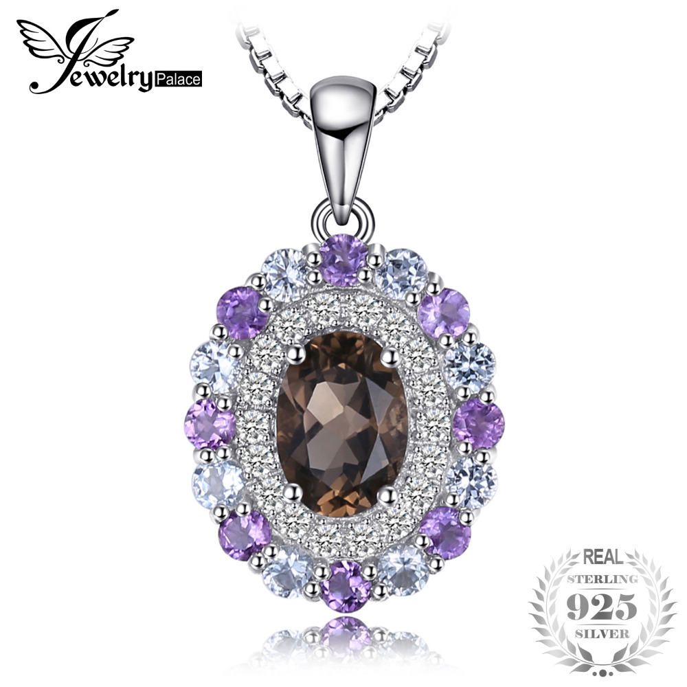 JewelryPalace Vintage 1.4ct Smoky Quartz Sky Blue Topaz Amethyst Cluster Pendant Necklaces 925 Sterling Silver Jewelry For Women цена 2017