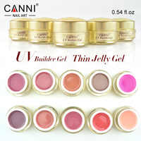 #50951 CANNI ongles approvisionnement or bouteille constructeur gel 15 ml clair uv gel nail art scupture tremper off ongles lampe cure mince gel ongles