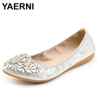YAERNI Hot Crystal Flats Ballet Floral Flat Shoes Rhinestone Women Spring Autumn Flower Pointed Toe Golden Shoes Loafers C228