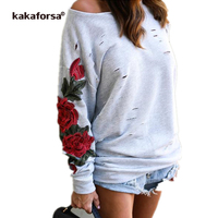 Kakaforsa Women Rose Print Tshirt Casual Long Sleeve Holes Tops befree Loose plus size Graphic Tees Sexy One Shoulder T Shirt