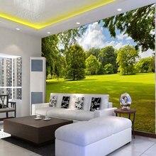 3D Wallpaper Stereo Green Tree Lawn Sunshine Nature