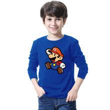 Mario Brothers Mario carino Stampato Delle Ragazze Dei Ragazzi T-Shirt T Shirt Per Bambini 2018 Nuovo A Manica Lunga O Collo Del Cotone Casual top Tee