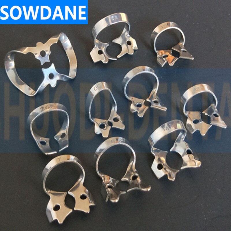 Material de aço inoxidável do grampo da barreira de borracha das braçadeiras da barragem de borracha dental mais popular
