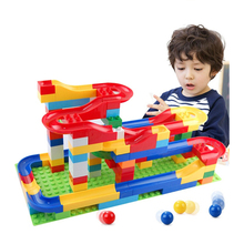 Children 3D Building Blocks Balls DIY Run Rolling Ball Rail Toys Large Grain Christmas birthday gift