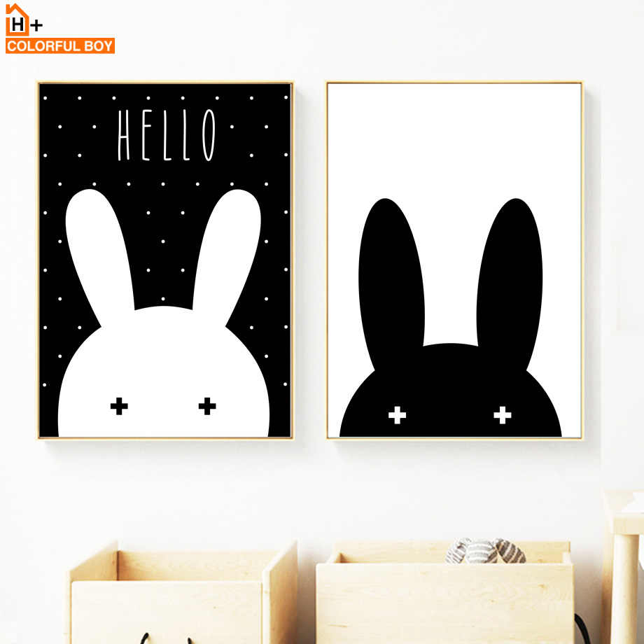 Black White Rabbit Wall Art Canvas Painting Nordic Posters And Prints Cartoon Wall Pictures Girl Baby Baby Kids Room Home Decor
