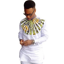 African fashion men shirts Ankara print long sleeve dashiki shirts white cotton&wax match o-neck tops customized