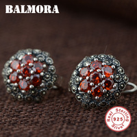100 Real Pure 925 Sterling Silver Earrings Elegant Romantic Earrings With Red Garnet Stone For Women