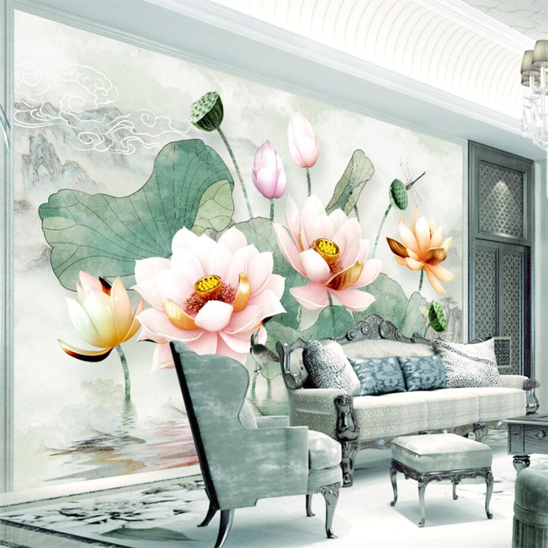 beibehang Custom 3d wallpaper murals living room bedroom embossed lotus fresh watercolor lotus leaf wall paper home decor european church square ceiling frescoes murals living room bedroom study paper 3d wallpaper