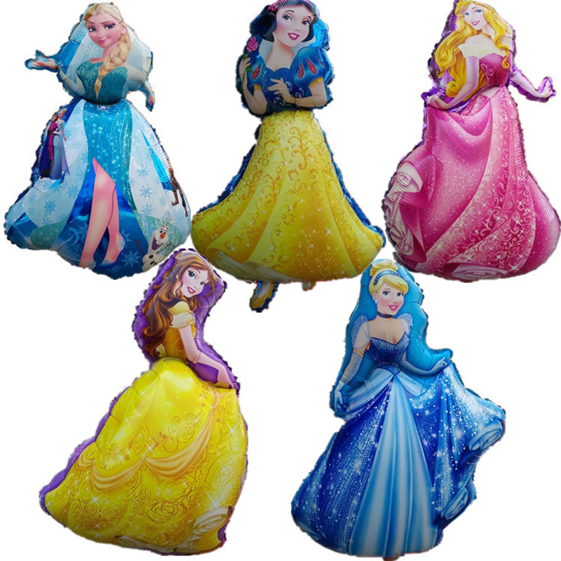 5pcs large princess balloon cartoon character elsa foil balloons snow white holi