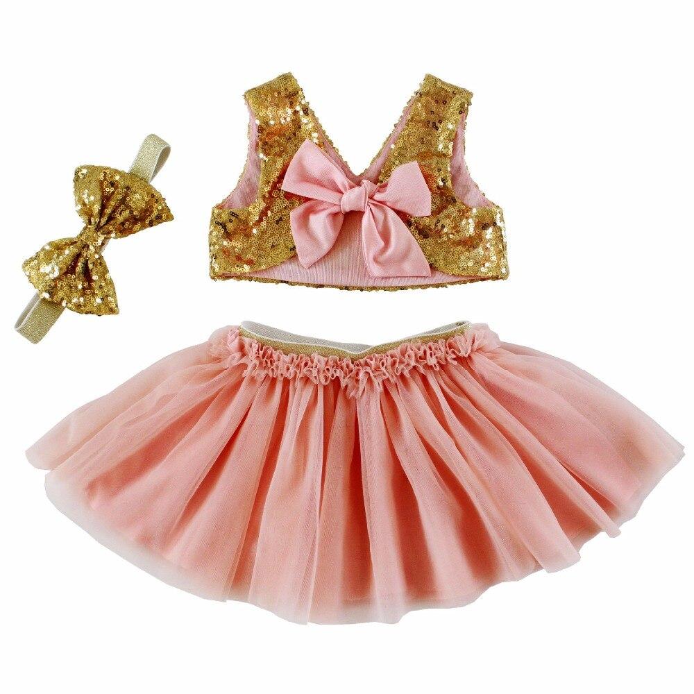 Girls 3Pcs Suit New Summer Girls Clothes Sequined Bow+<font><b>Net</b></font> Yarn Skirt+Headband Kids Sets Fashion Style Kids Girls Sets
