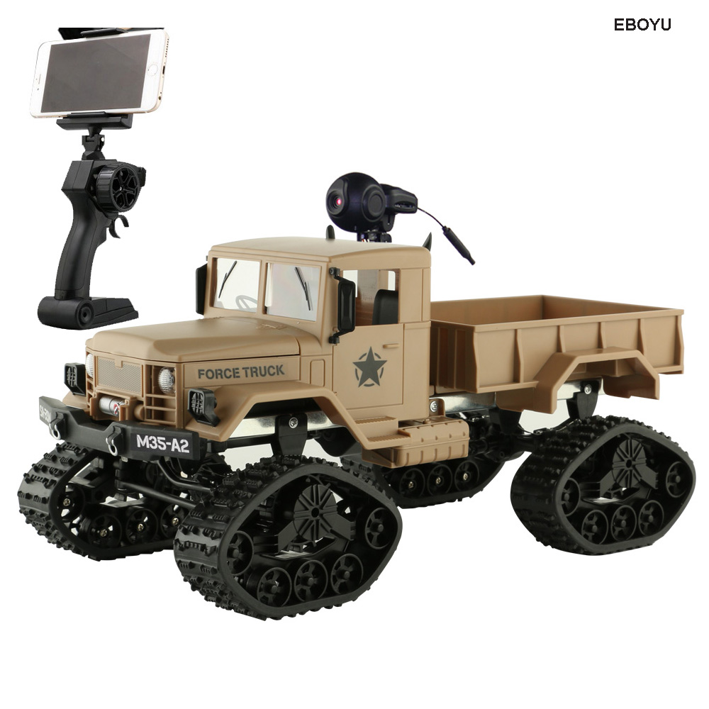 EBOYU FY001B WiFi 2.4Ghz 1/16 4WD Snow Tires Truck Off-road RC Truck with Front Light WiFi FPV 0.3MP Camera Military Truck RTR