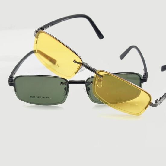 5959eaa670360 Óculos dos homens Quadro RX Com Gray   Amarelo óculos Polarizados Clip-on  6015