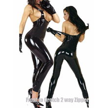HU&GH $2 Off New Black Sexy Tank Catsuit Latex Overalls Female Romper Zipper To Crotch Skinny Women Vinyl Jumpsuit W7916