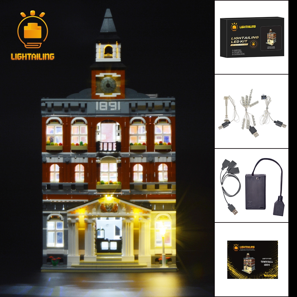 LIGHTAILING Led Light Up Kit For Creator City The Town Hall Building Blcok Model Light Set Compatible With 10224 And 15003 led light up kit gor city model building block figures accessories kit toys for children compatible with lepin