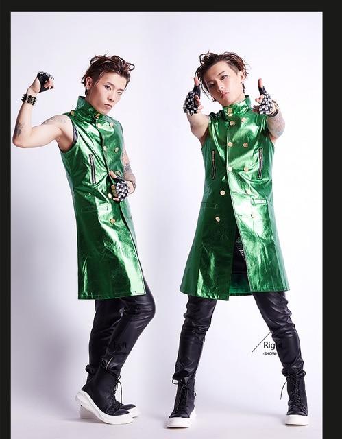 Traje masculino de Rock Masculina de Lentejuelas CHALECO TRAJE masculino de  Corea capa larga chaqueta de c9519443be4