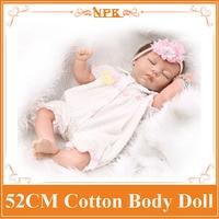 Newnest Encantadora NPK Marca 52 cm 21 pulgadas Renacer Baby Dolls Para venta Con Velo Princesa Como Vestido de Algodón Mezclado Caliente Bienvenida Brinquedo