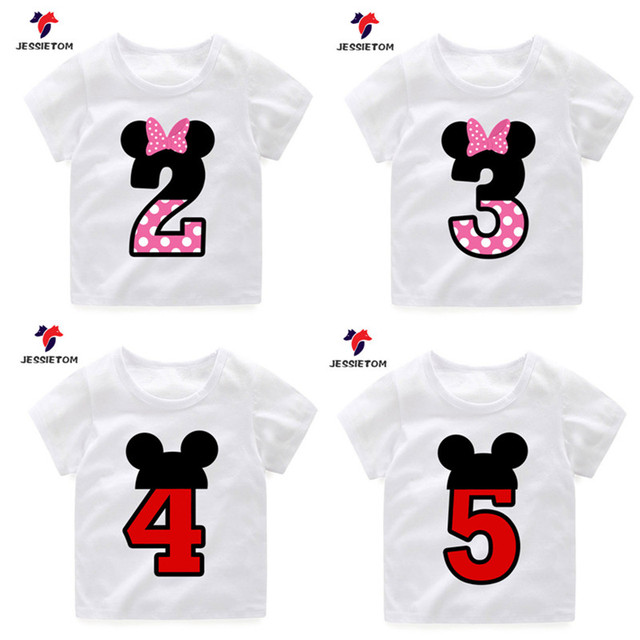 Cute Mouse Birthday Design Print Custom Name T Shirts For Boy Girl Kid Kawaii Funny Present Tee Shirt Children Clothes