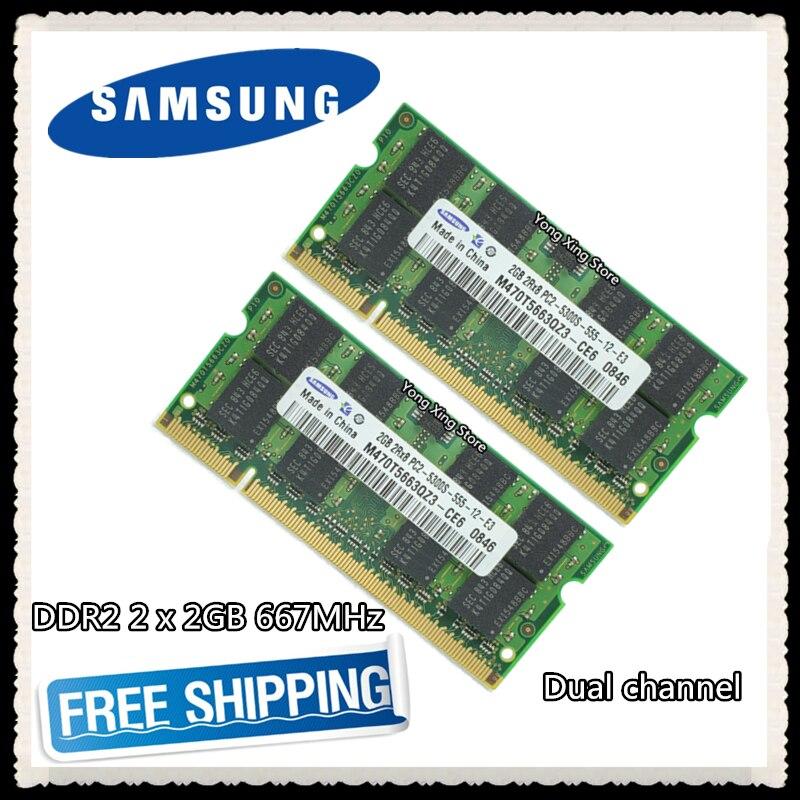 Samsung DDR2 2x2 GB 4GB Dual channel 667MHz PC2-5300S Original authentischen ddr 2 2G 4g notebook speicher Laptop RAM SODIMM