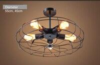 אורות תקרת מאוורר תקרת בציר סגנון אופנה מרפסת מנורות נורות E27 מנורת תקרה מאוורר שחור