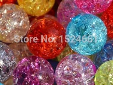 Смешанный Красочные треск акрил Бусины Spacer мяч Бусины, хорошее качество, 12 мм * abs-Распорки кабошон ювелирные изделия Шамбала