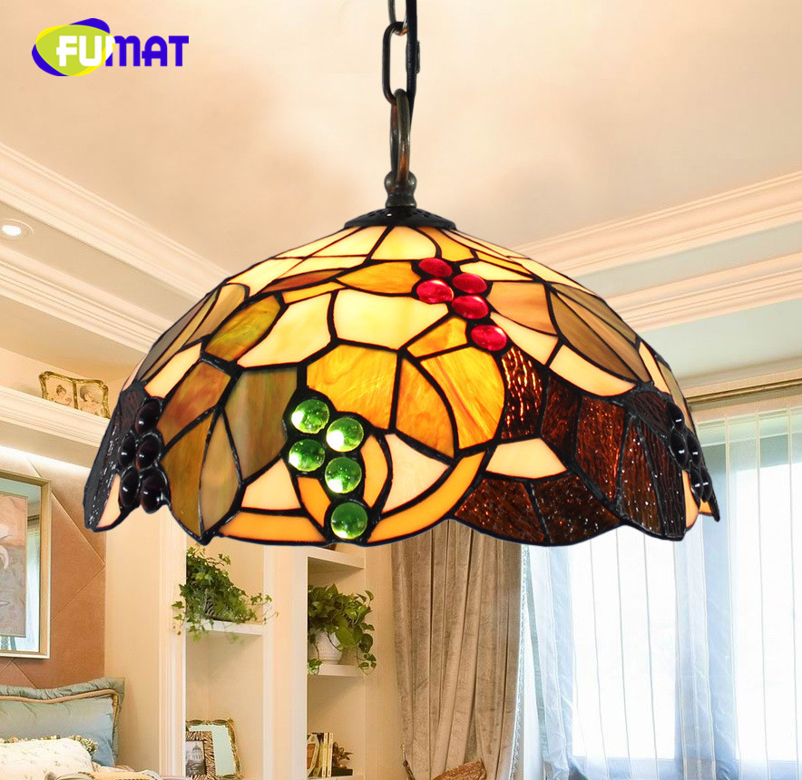 FUMAT American Pastoral creative Retro Tiffany Stained Glass Living Room Bedroom Bedside Hotel restaurant Grape Chandelier