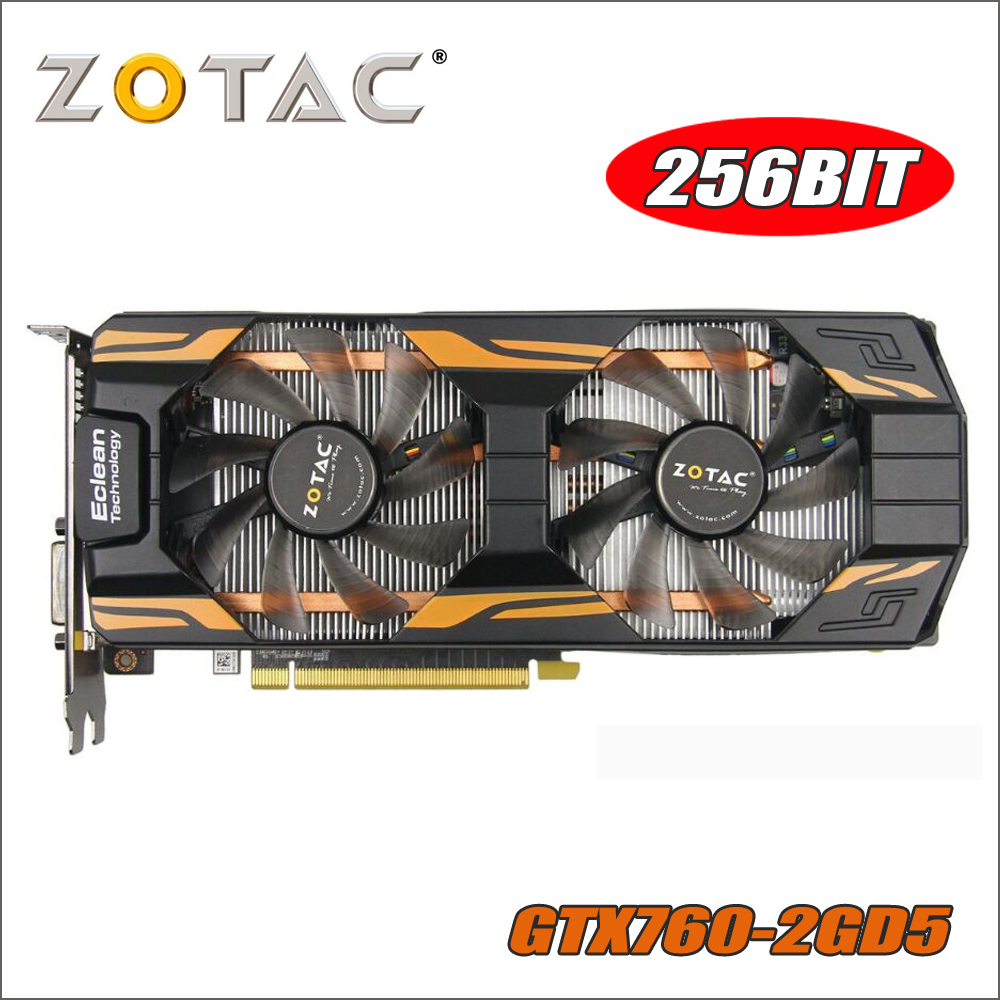 Original tarjeta de Video ZOTAC GeForce GTX760 2GD5 Thunderbolt 256Bit GDDR5 tarjetas gráficas para nVIDIA GTX 760 2 GB 2G hdmi Dvi 750 ti