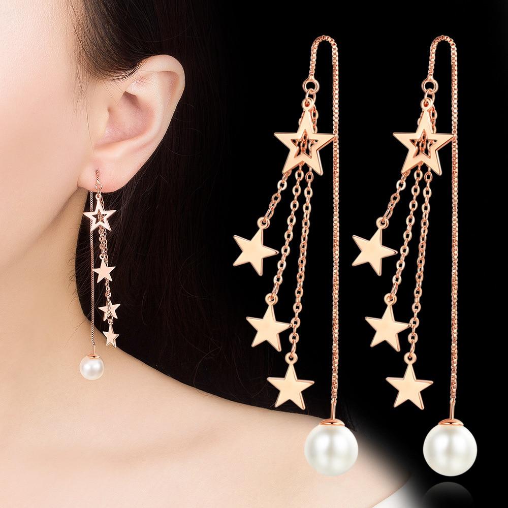 XIYANIKE 925 Sterling Silver Trendy Elegant Fringed five-pointed star Drop Earrings For Women Wedding Jewelry Accessories