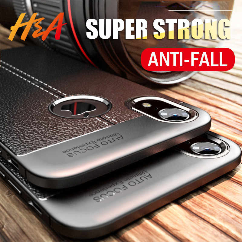 H&A Litchi Leather Pattern Phone Case For Apple iPhone X XR XS Max Soft Silicone Shockproof Cover For iPhone 7 8 6 6s Plus Cases