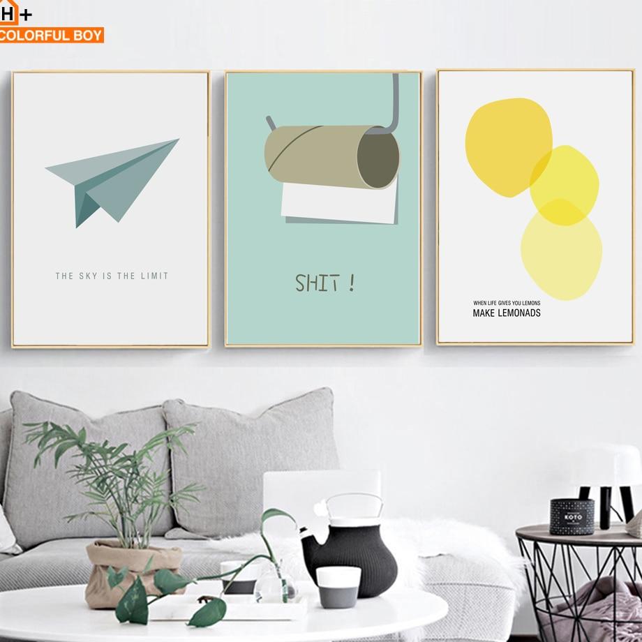 COLORFULBOY Juokingi tualetiniai popieriai Šiuolaikinio minimalizmo drobė Tapyba Plakatas Namų dekoras Sienų tapetai Spausdinti sieninius paveikslėlius vonios kambariui
