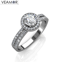 Luxury 5mm CZ Diamond Wedding Ring For Bridal Couple Jewelry White Gold Plated Party Rings With