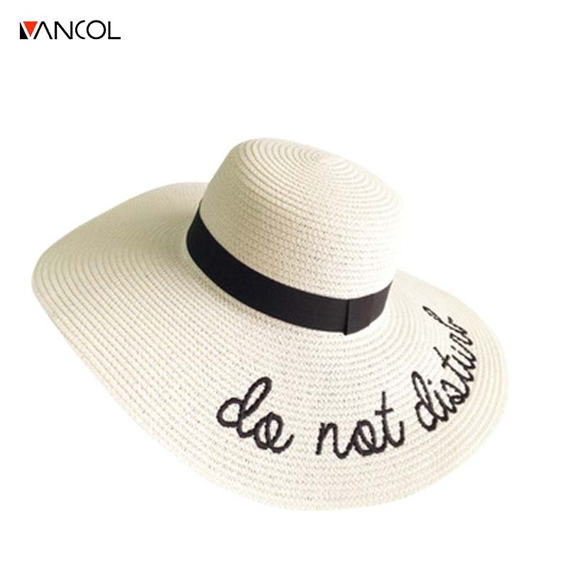 d067856b730 Summer Women Sun Hat Ladies Wide Brim Straw Hats Outdoor Foldable Beach  Panama Hats Church Hat ...