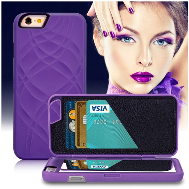 newest d50c3 64a69 US $3.98 5% OFF|2 in 1 Kickstand Function Hidden Mirror Wallet Case for  coque iphone 8 7 Plus 6s Plus 5 5s Accessories Capinhas Card Holder Case-in  ...