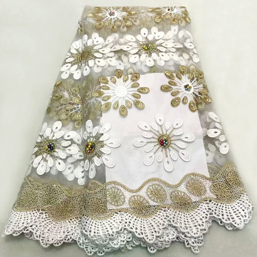 White+Gold With Multicolor beads African French Lace Fabric High Quality African Tulle Lace with beads Fabric For Wedding dressWhite+Gold With Multicolor beads African French Lace Fabric High Quality African Tulle Lace with beads Fabric For Wedding dress