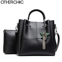 OTHERCHIC Frauen Mode Doppel Tasche Quaste Einkaufstasche Set mit Messenger Crossbody Tasche Alle Spiel Top Griff Handtasche Frauen L-7N08-49