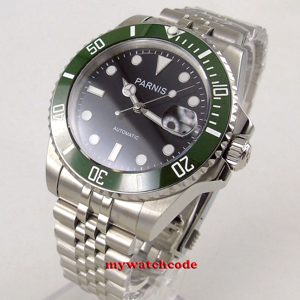 new arrive 40mm Parnis black dial sapphire glass date 21 jewels MIYOTA automatic Mens Watch цена и фото