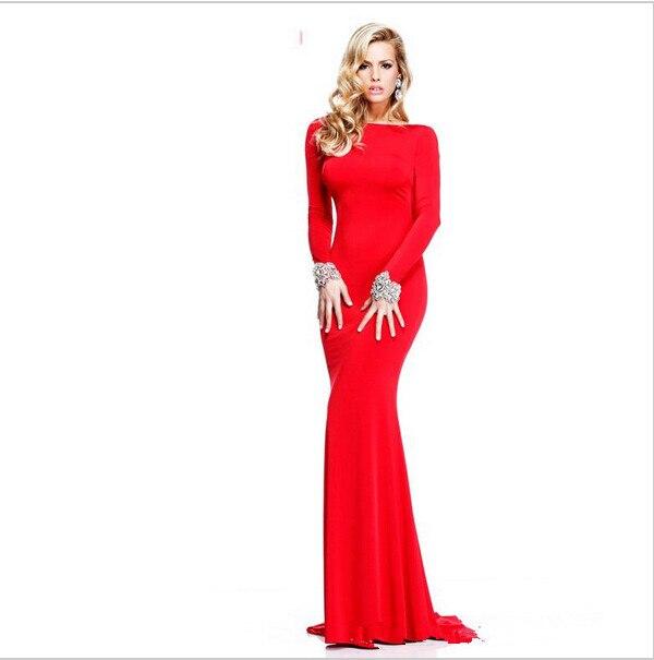 d3e21e40f02 Robe de soiree rouge manche longue – Site de mode populaire