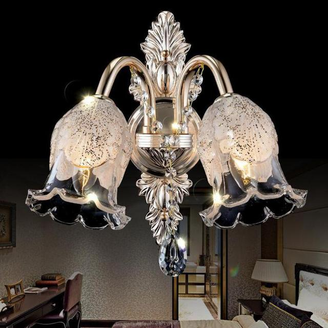 Hallway 1-2 arms Led glass flower Wall Lamp Luminaire hotel Restaurant glass lampshade metal wall sconce Crystal Lampe Wandlamp