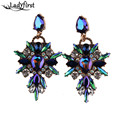Ladyfirst 2016 New Colorful Flower Big Brand  Design Luxury Starburst Pendant Crystal Gem Statement Earrings Jewelry 3343