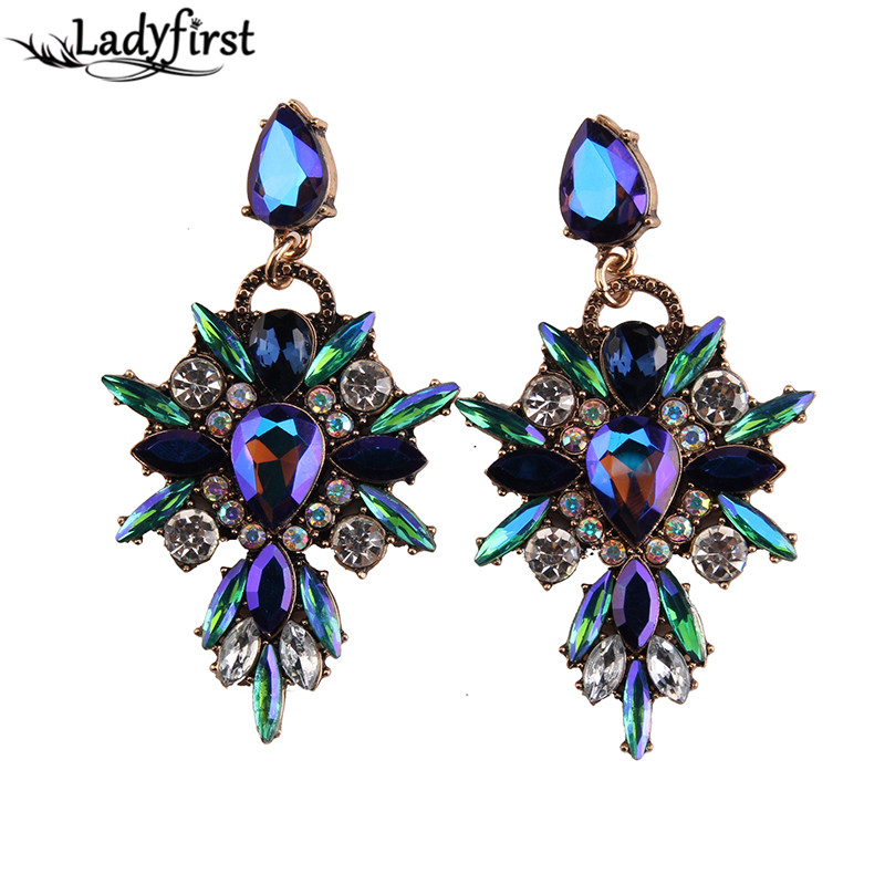 Ladyfirst 2016 New Colorful Flower Big Brand Design Luxury Starburst Pendant Crystal Gem Statement font b