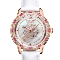 woman Mechanical watches Color diamond gem sapphire crystal Watch flowers Clock Ladies Automatic Female Leather Wrist Watches