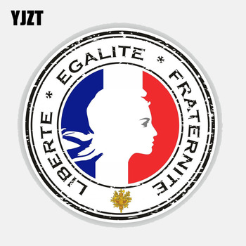YJZT 11.9CM*11.9CM Car Accessories Liberty Equality Fraternity Car Sticker Decal 6-2799 image