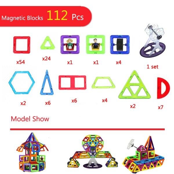 112 pièces Magnétique blocs de construction Magnétique Constructeur Designer 3D Tirant bricolage jouets éducatifs Enfants jouets aimantés pour Enfants