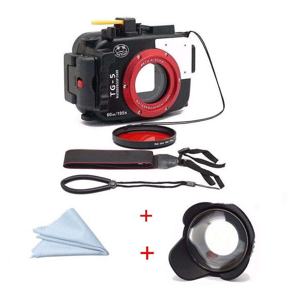 Boîtier de boîtier de caméra sous-marine 60 M/195ft pour Olympus TG5 + objectif Fisheye + filtre rouge 67mm