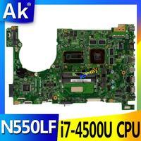 AK Laptop Motherboard For ASUS Q550LF N550LF PC PN 60NB0230 MBB000 N550LF MAIN BOARD CPU i7 4500U CPU DDR3 100% Fully Tested