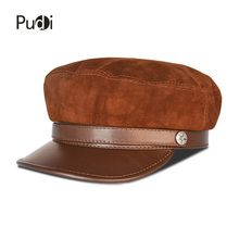 Pudi HL825 man genuine leather baseball cap hat 2018 brand new real sheep lerther cow suede leather student trucker sport caps цена