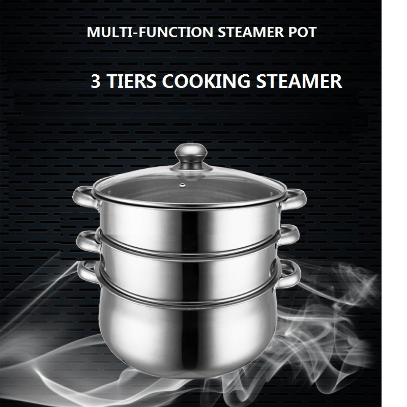 GRATIS FRAKT 3 lags STEAMER POT INOX COOKING POT STOCK POT STEW POT - Kjøkken, spisestue og bar