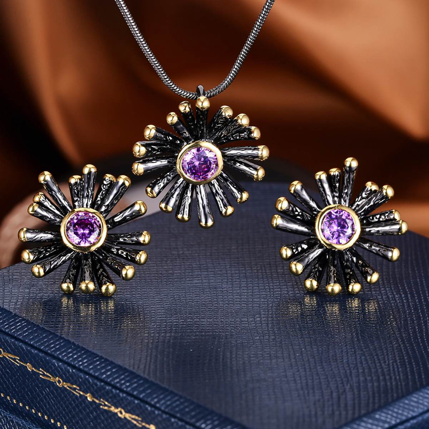 ZHE FAN New Jewelry Sets For Women Round Cut AAA Cubic Zirconia Black Gold Color 2 Tone Plated Pendants Stud Earring Sets Violet